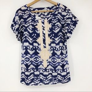 Banana Republic Blouse Printed Embroidered Blue S
